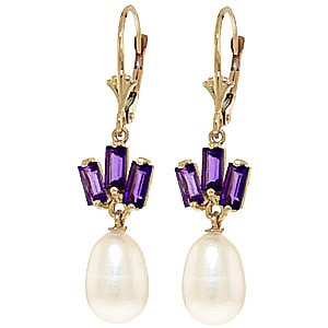 Pearl & Amethyst Ternary Drop Earrings in 9ct Gold