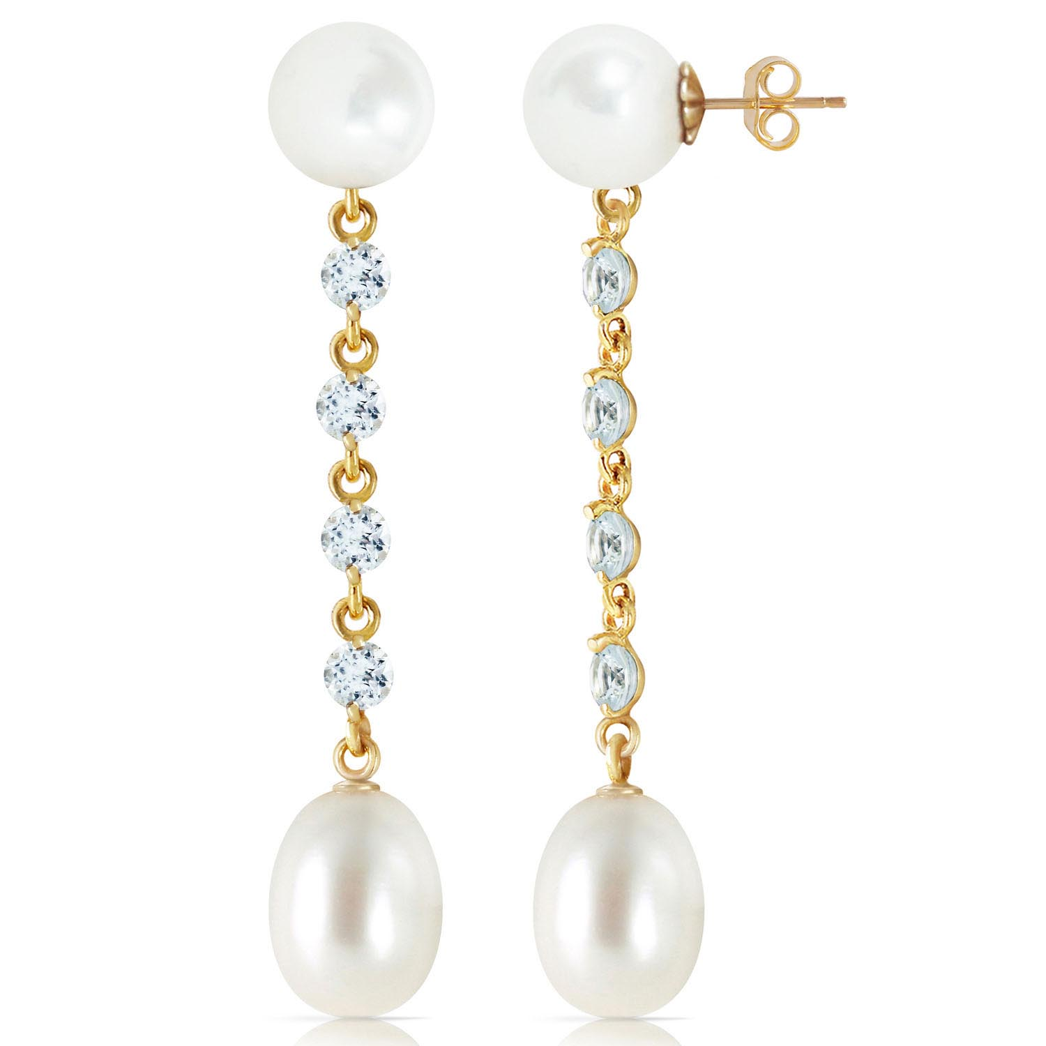 Pearl & Aquamarine by the Yard Drop Earrings in 9ct Gold