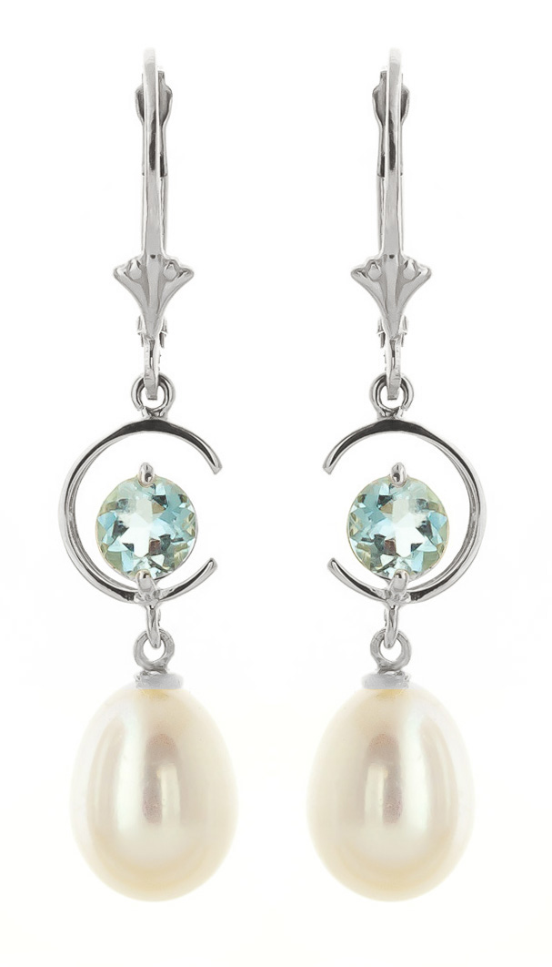 Pearl & Aquamarine Drop Earrings in 9ct White Gold