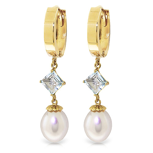 Pearl & Aquamarine Droplet Huggie Earrings in 9ct Gold