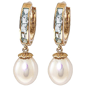 Pearl & Aquamarine Huggie Earrings in 9ct Gold