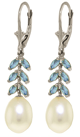 Pearl & Blue Topaz Drop Earrings in 9ct White Gold