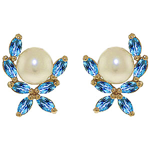 Pearl & Blue Topaz Ivy Stud Earrings in 9ct Gold