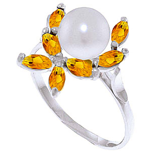 Pearl & Citrine Ivy Ring in 18ct White Gold