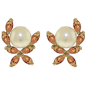 Pearl & Citrine Ivy Stud Earrings in 9ct Gold
