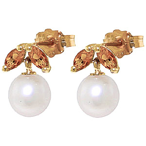 Pearl & Citrine Snowdrop Stud Earrings in 9ct Gold