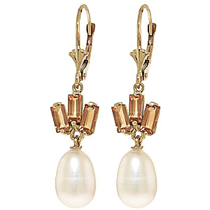 Pearl & Citrine Ternary Drop Earrings in 9ct Gold