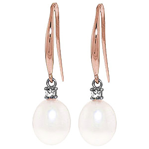 Pearl & Diamond Drop Earrings in 9ct Rose Gold