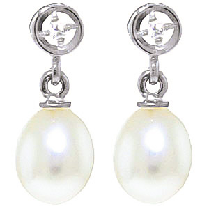 Pearl & Diamond Drop Earrings in 9ct White Gold