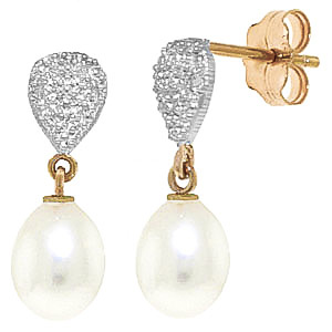 Pearl & Diamond Droplet Earrings in 9ct Gold