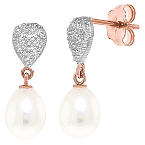 Pearl & Diamond Droplet Earrings in 9ct Rose Gold