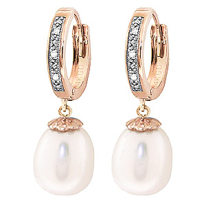 Pearl & Diamond Huggie Earrings in 9ct Rose Gold