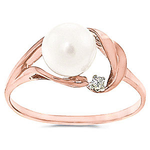 Pearl & Diamond Ring in 18ct Rose Gold
