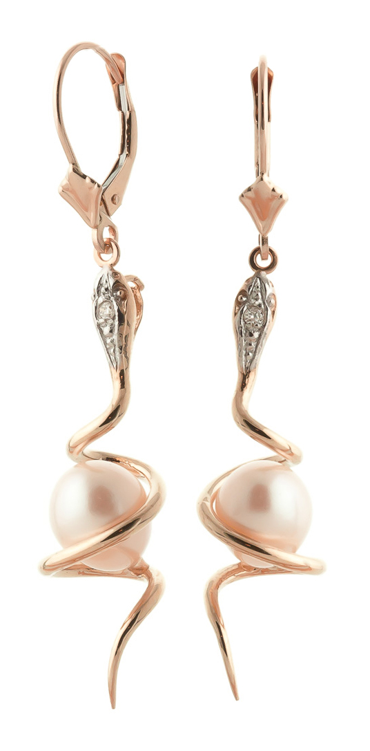 Pearl & Diamond Serpent Earrings in 9ct Rose Gold