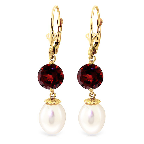 Pearl & Garnet Droplet Earrings in 9ct Gold