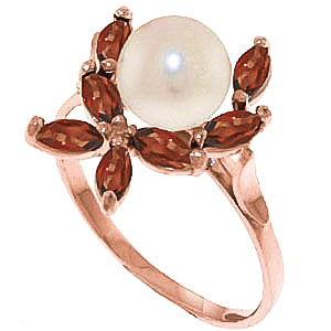 Pearl & Garnet Ivy Ring in 9ct Rose Gold