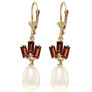 Pearl & Garnet Ternary Drop Earrings in 9ct Gold