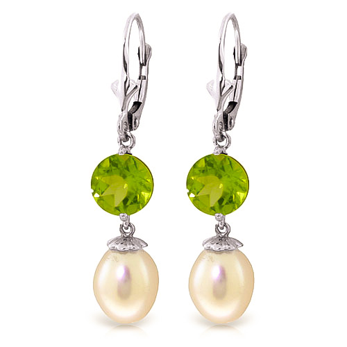 Pearl & Peridot Droplet Earrings in 9ct White Gold