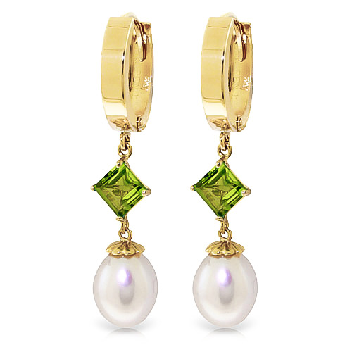 Pearl & Peridot Droplet Huggie Earrings in 9ct Gold