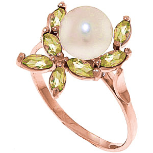 Pearl & Peridot Ivy Ring in 9ct Rose Gold
