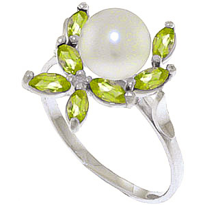 Pearl & Peridot Ivy Ring in 18ct White Gold