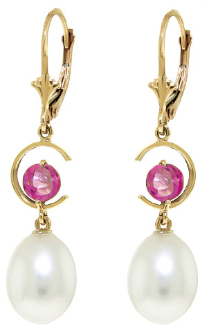 Pearl & Pink Topaz Drop Earrings in 9ct Gold