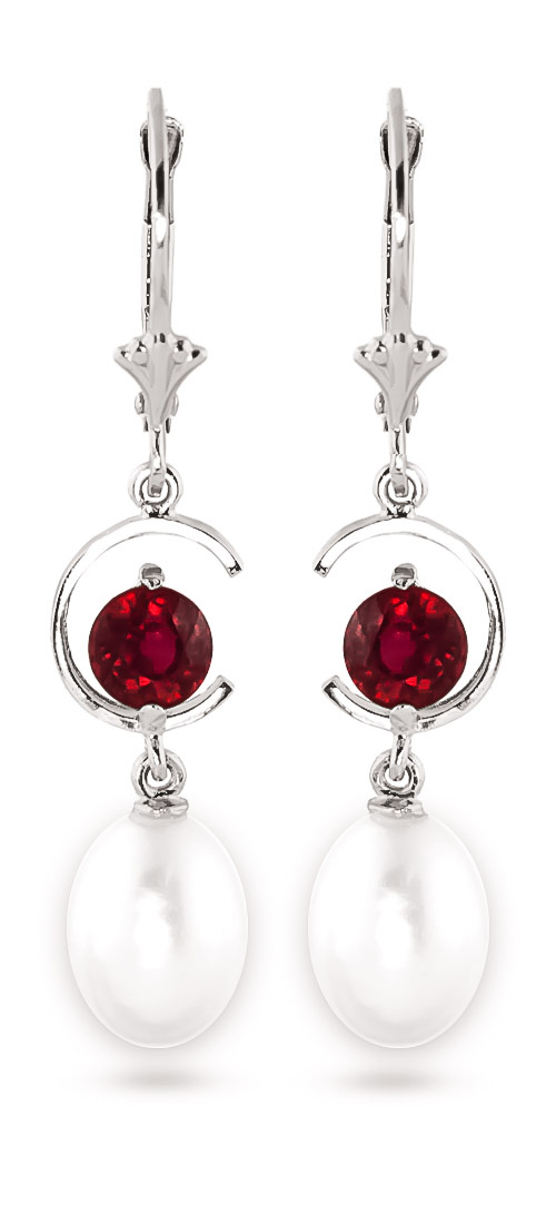 Pearl & Ruby Drop Earrings in 9ct White Gold