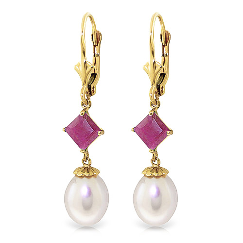 Pearl & Ruby Droplet Earrings in 9ct Gold