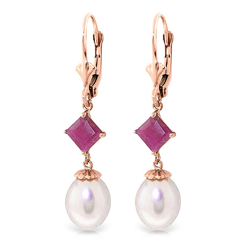 Pearl & Ruby Droplet Earrings in 9ct Rose Gold