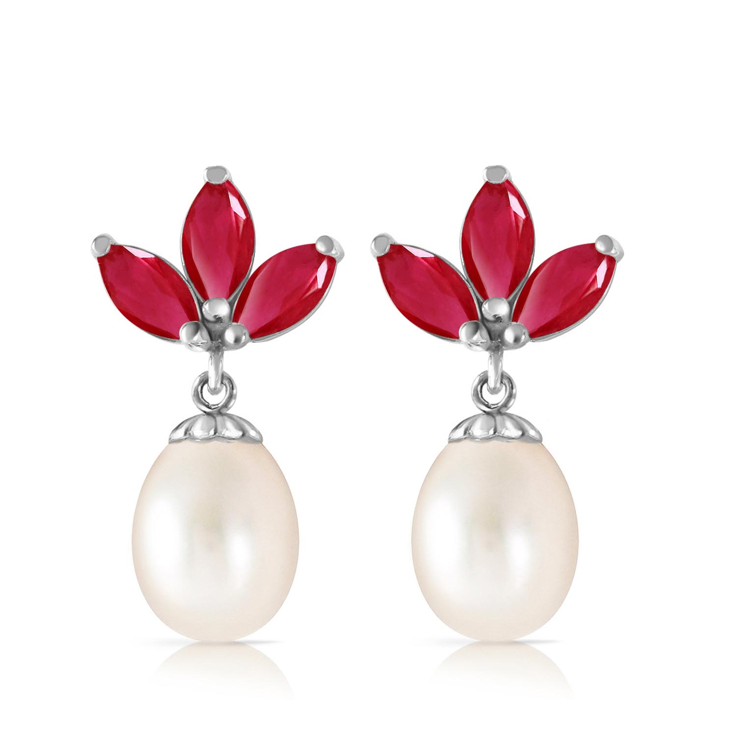 Pearl & Ruby Petal Drop Earrings in 9ct White Gold