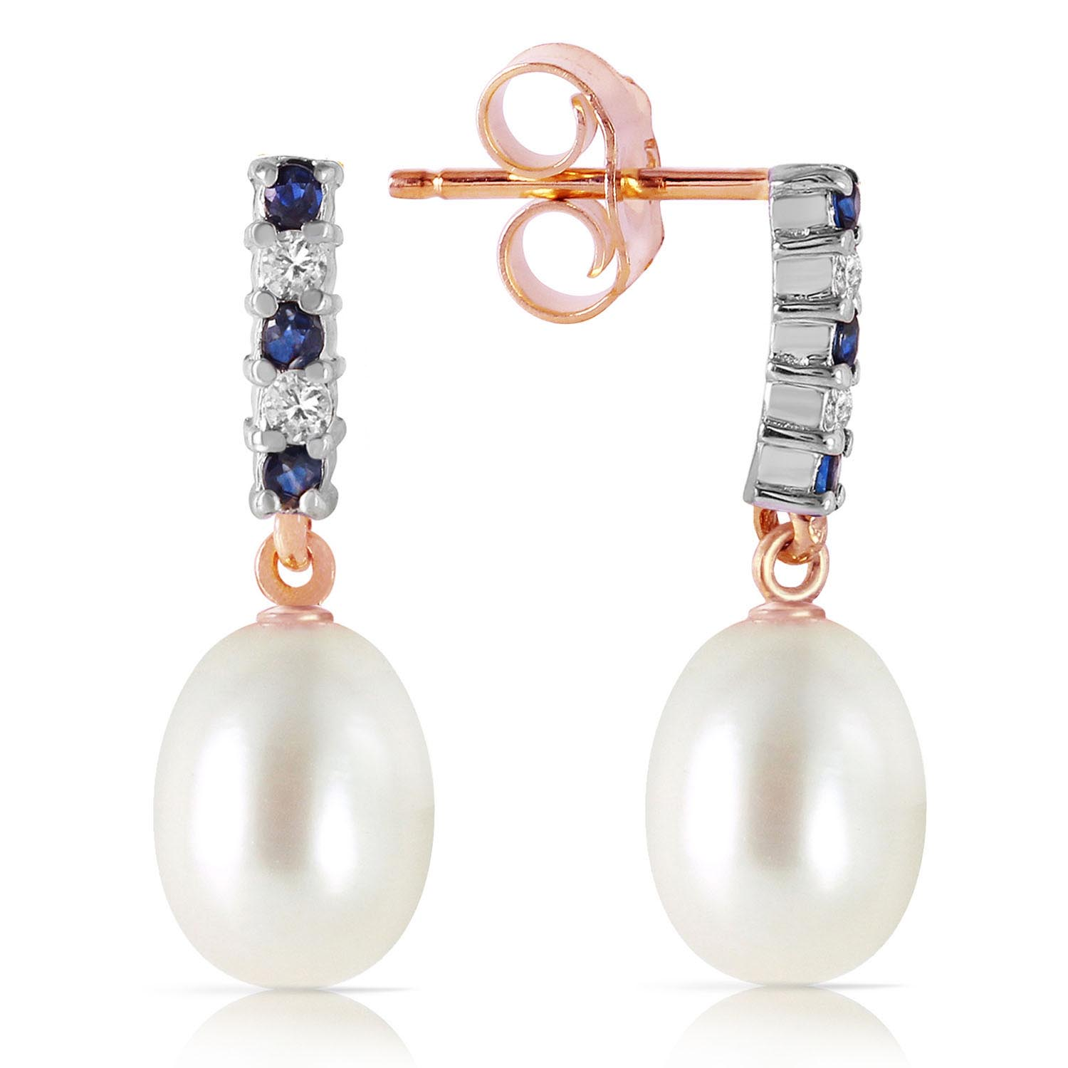 Pearl & Sapphire Stud Earrings in 9ct Rose Gold