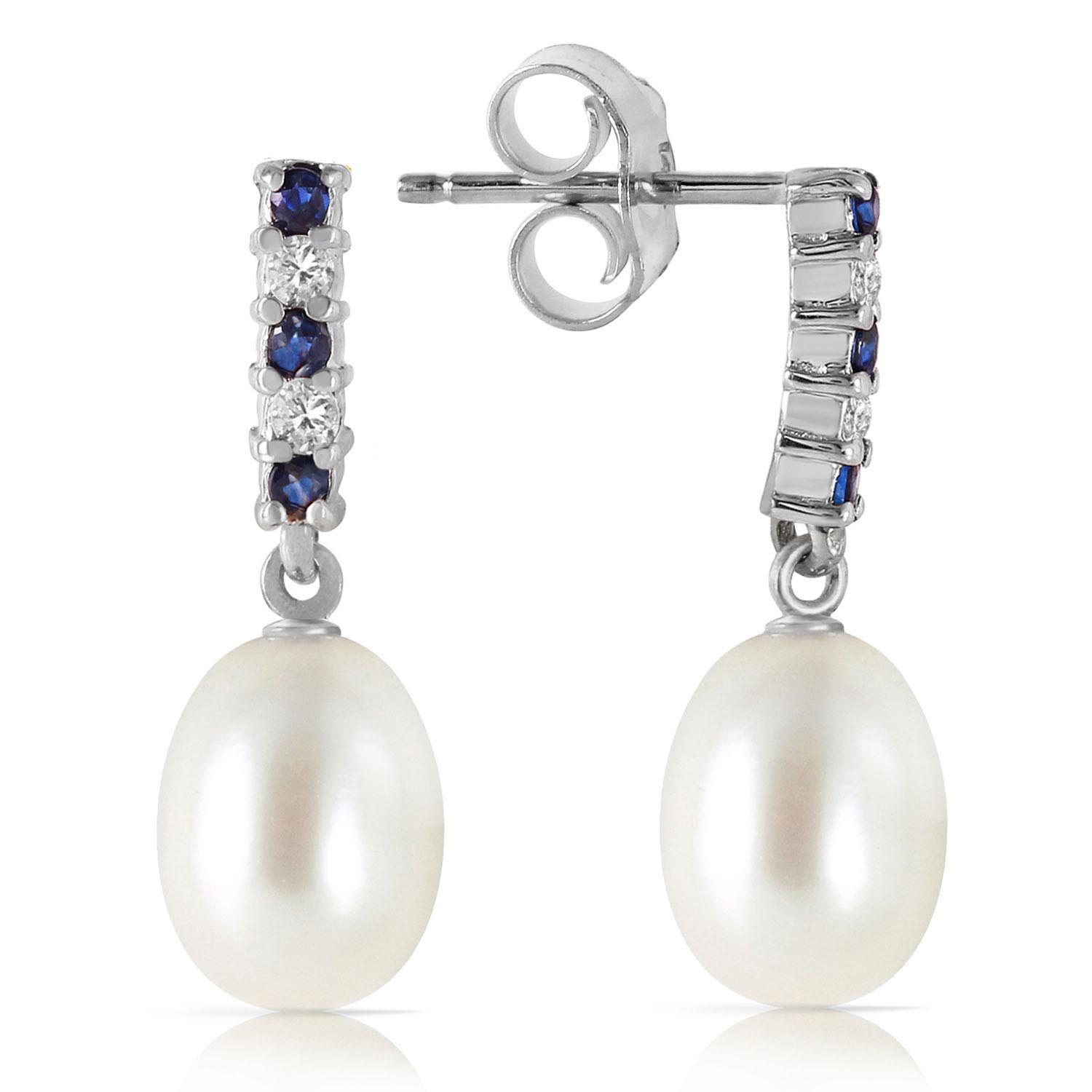 Pearl & Sapphire Stud Earrings in 9ct White Gold