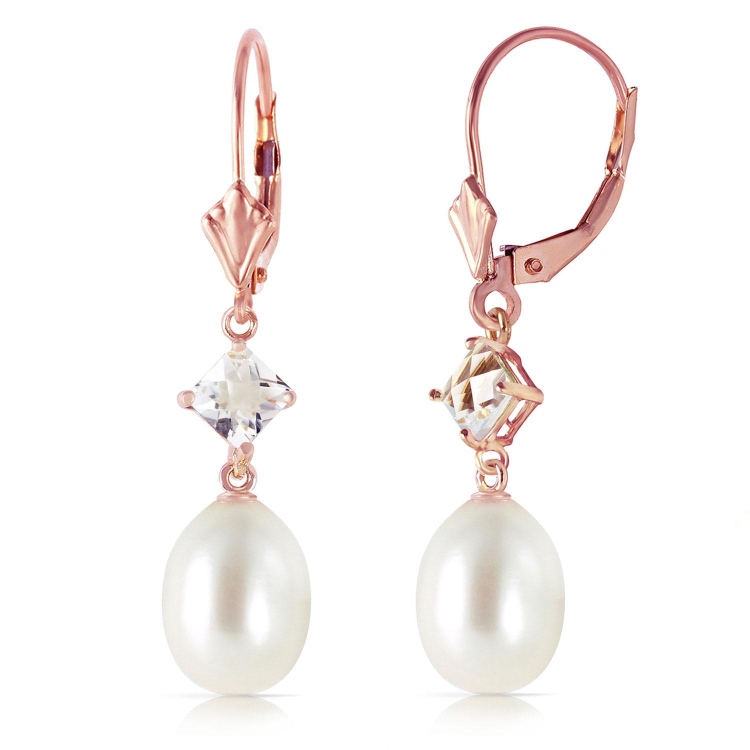 Pearl & White Topaz Drop Earrings in 9ct Rose Gold