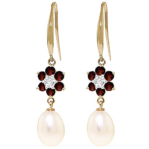 Pearl, Diamond & Garnet Daisy Chain Drop Earrings in 9ct Gold