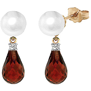 Pearl, Diamond & Garnet Stud Earrings in 9ct Gold