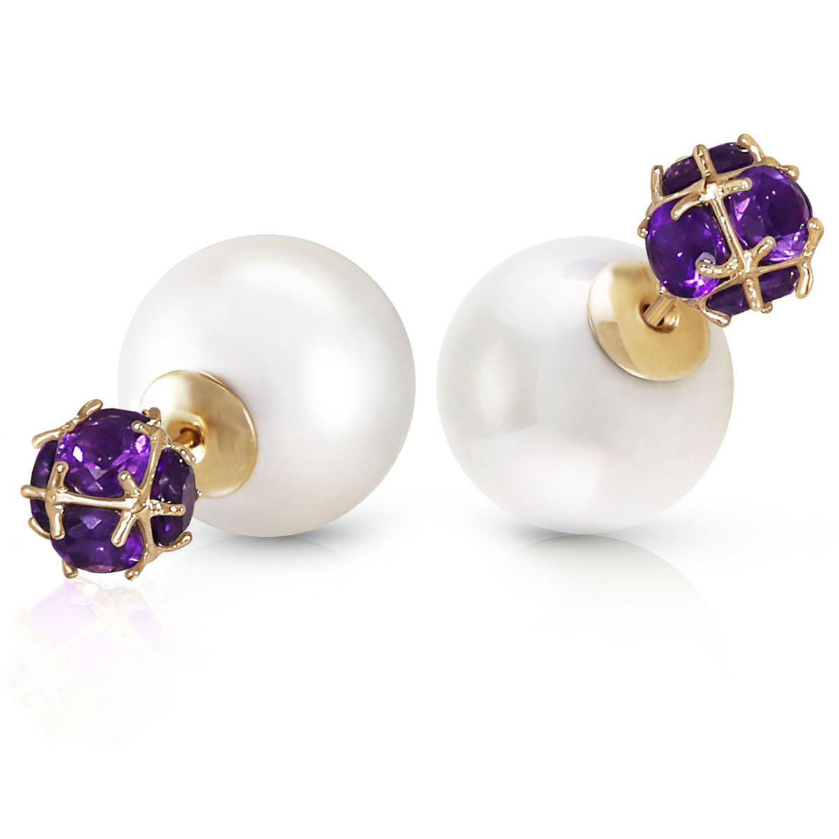 Pearl Double Shell Stud Earrings 68.2 ctw in 9ct Gold