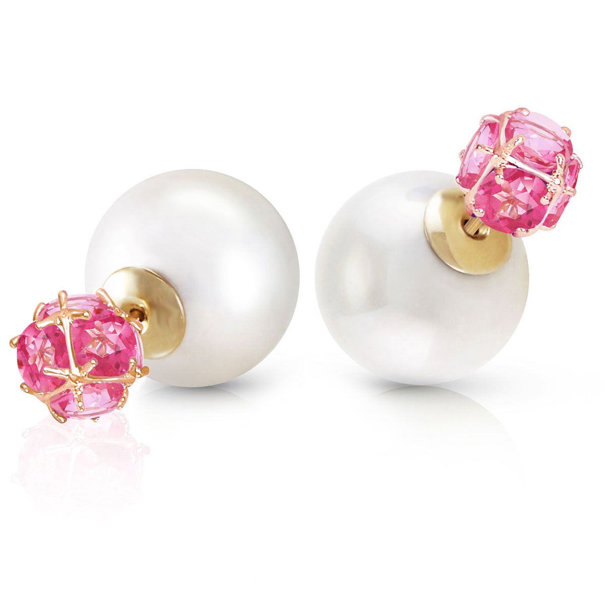 Pearl Double Shell Stud Earrings 70 ctw in 9ct Gold