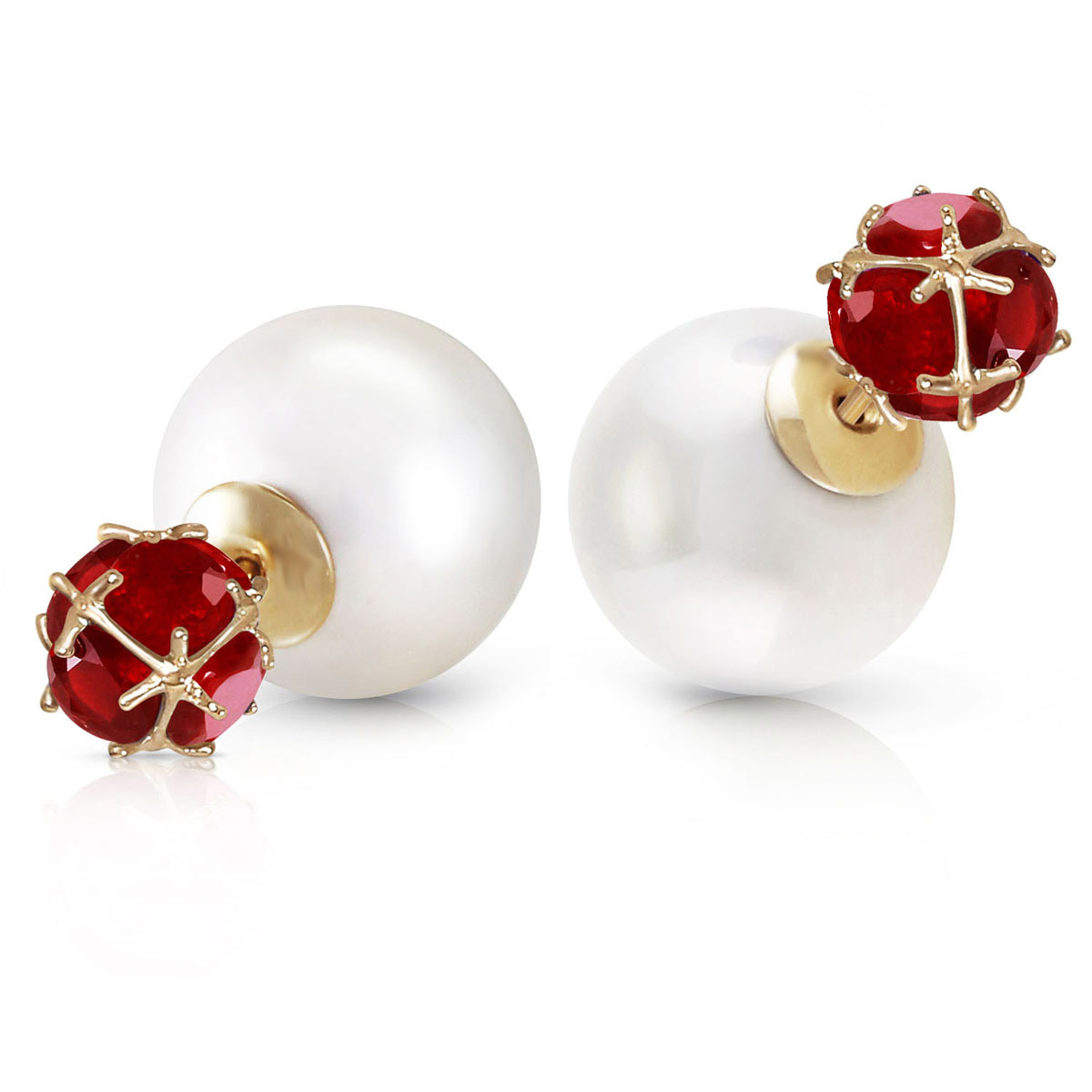 Pearl Double Shell Stud Earrings 72.3 ctw in 9ct Gold