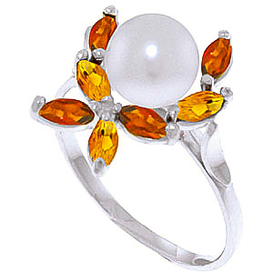Pearl, Garnet & Citrine Ivy Ring in 18ct White Gold