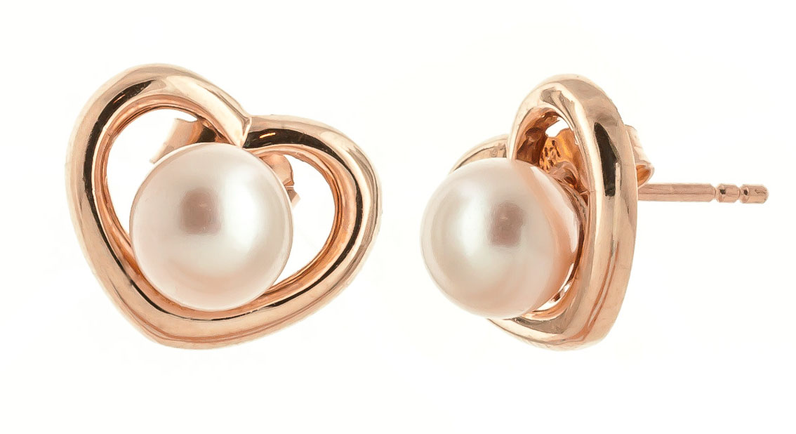 Pearl Stud Earrings 4 ctw in 9ct Rose Gold