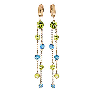 Peridot & Blue Topaz Roman Drop Earrings in 9ct Gold