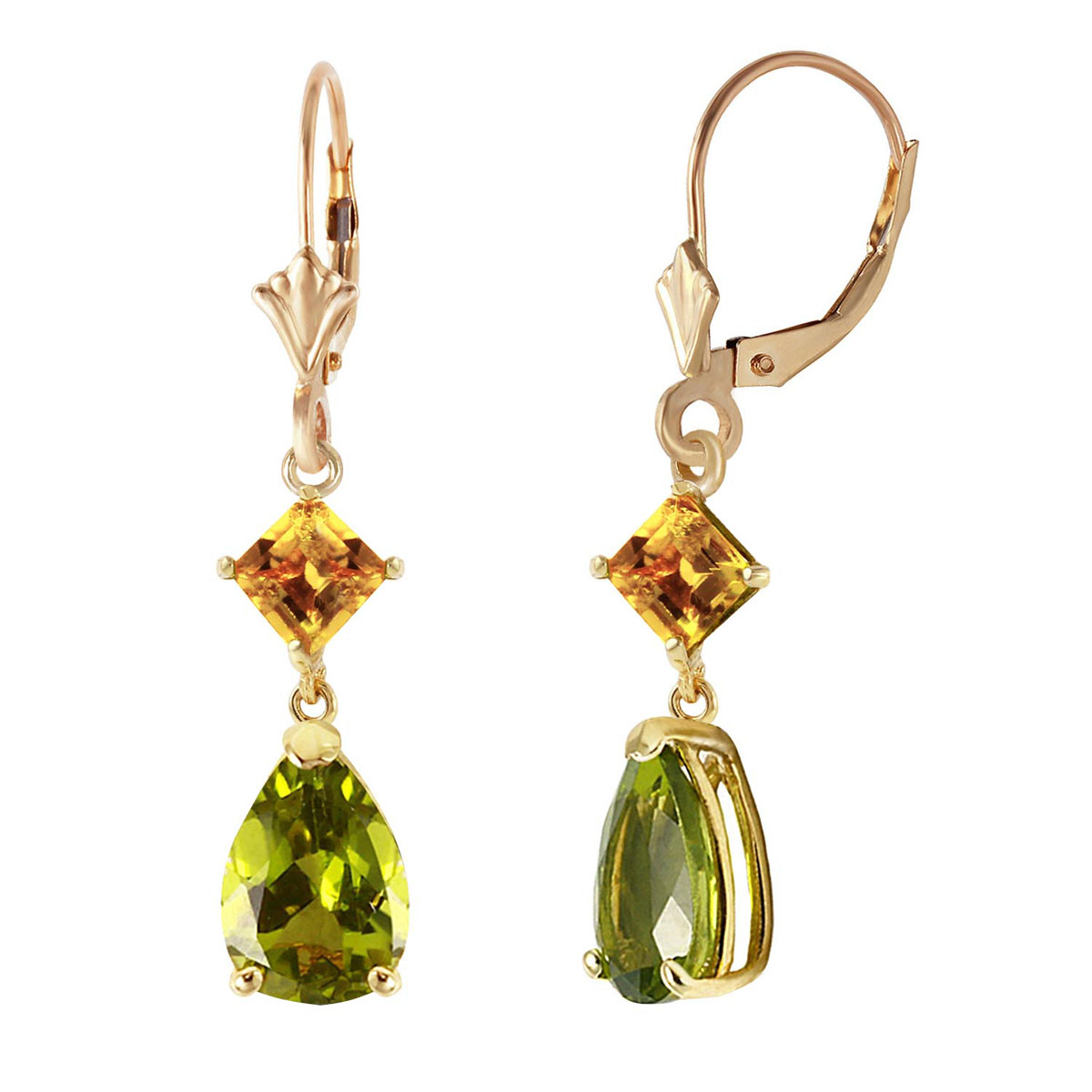 Peridot & Citrine Droplet Earrings in 9ct Gold