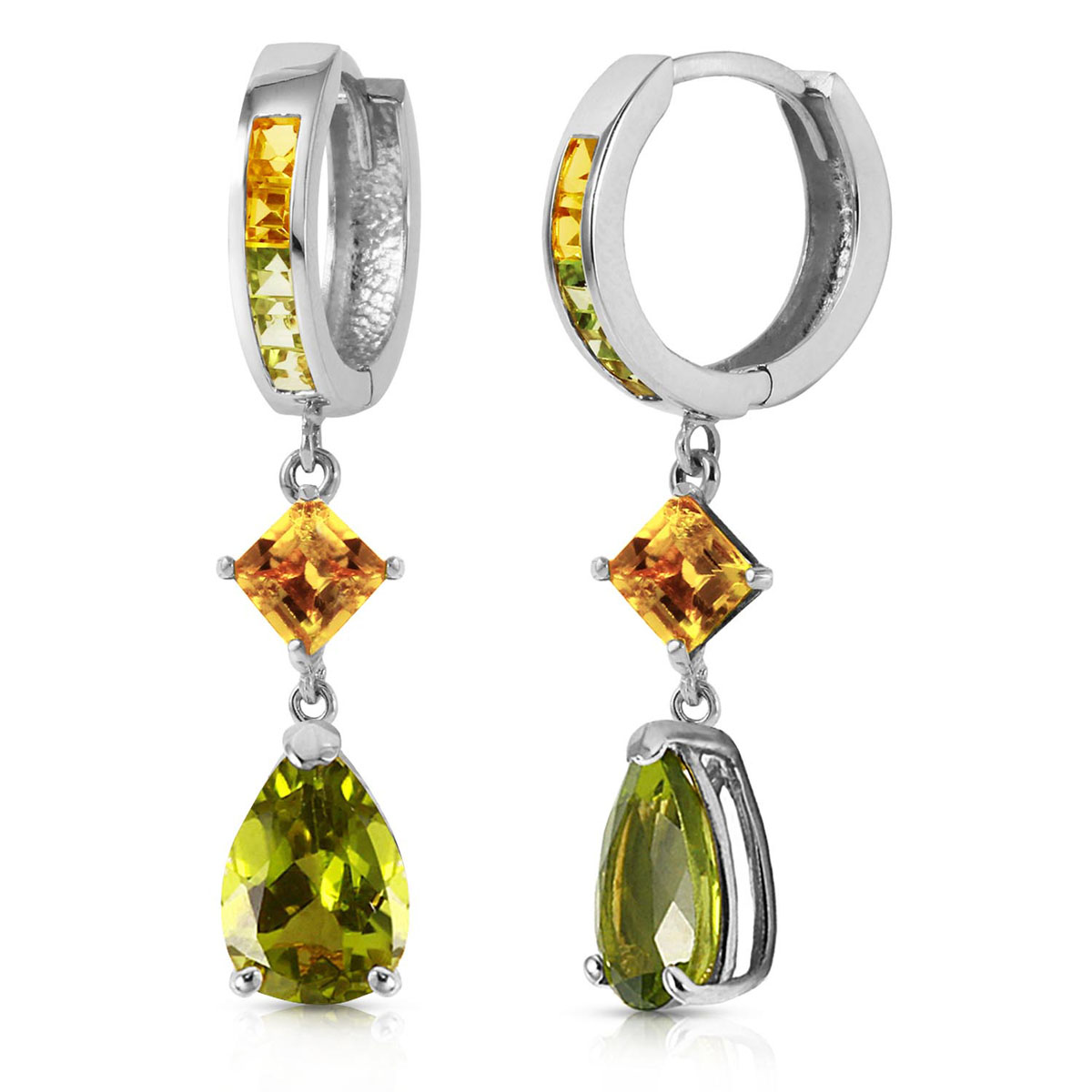 Peridot & Citrine Huggie Earrings in 9ct White Gold