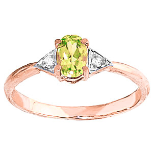 Peridot & Diamond Allure Ring in 9ct Rose Gold