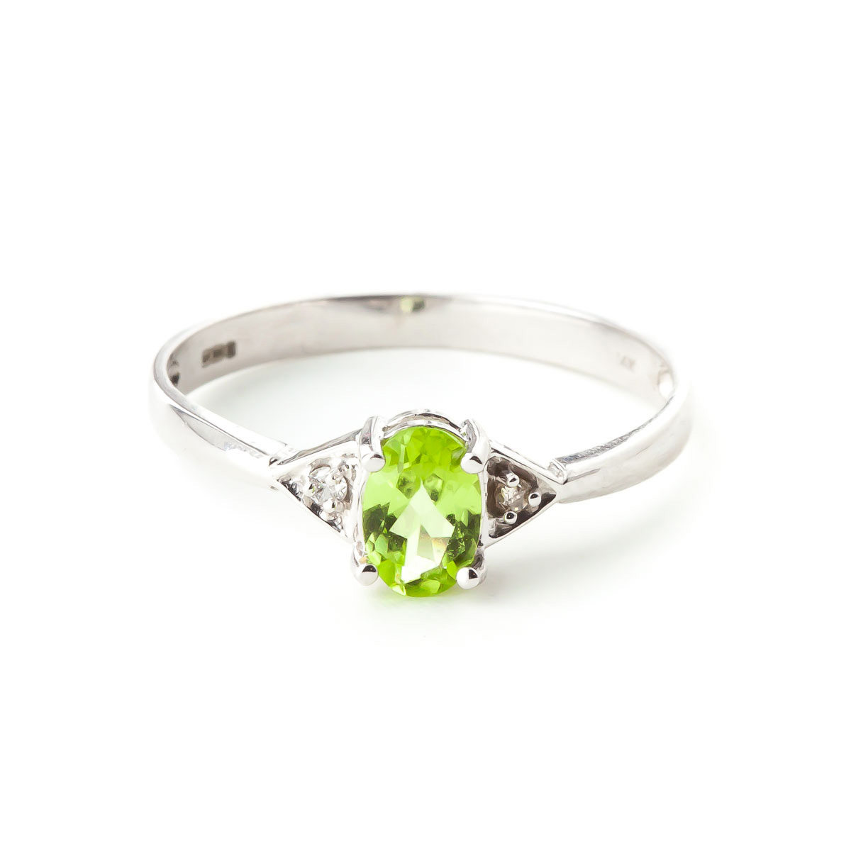 Peridot & Diamond Allure Ring in 18ct White Gold