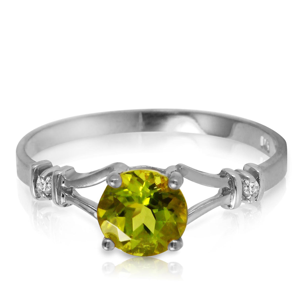 Peridot & Diamond Aspire Ring in 18ct White Gold