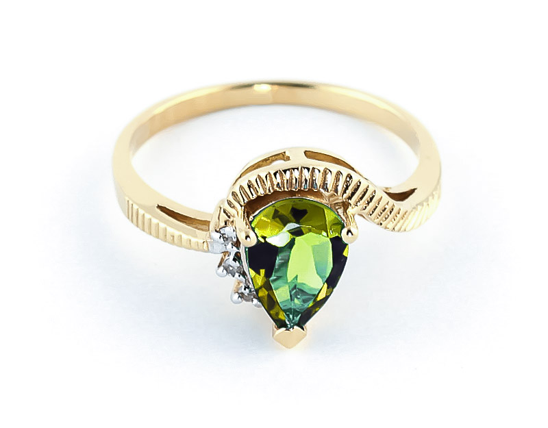 Peridot & Diamond Belle Ring in 9ct Gold