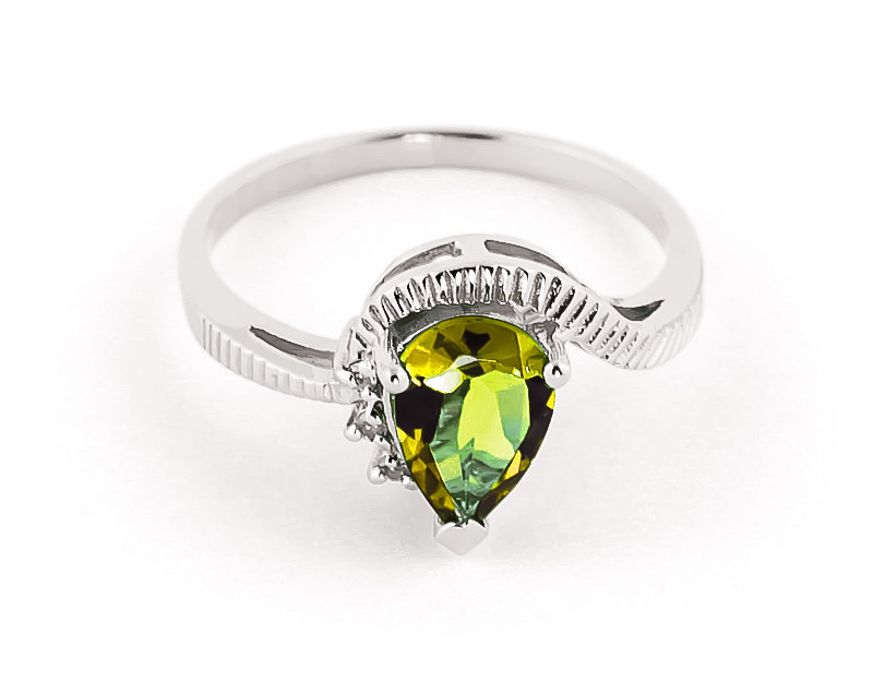 Peridot & Diamond Belle Ring in 9ct White Gold