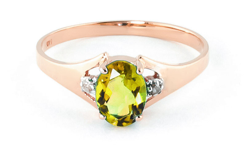 Peridot & Diamond Desire Ring in 9ct Rose Gold