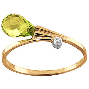 Peridot & Diamond Droplet Ring in 18ct Gold